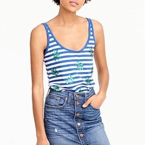 J. Crew Striped tank top with sequin palm